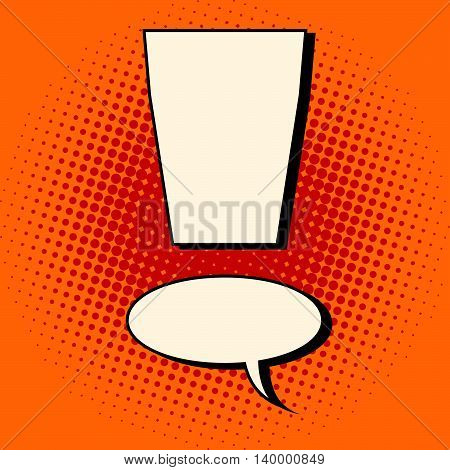 Comic bubble exclamation mark pop art retro vector illustration