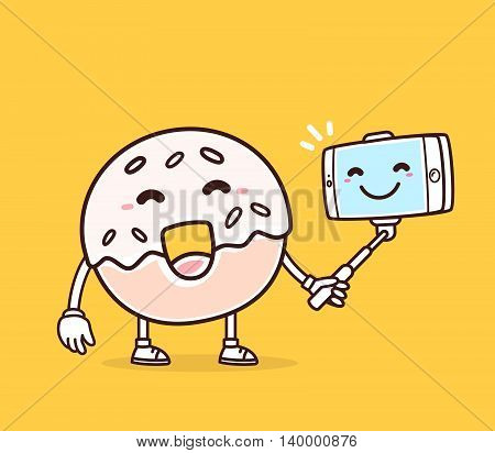 Vector illustration of bright color smile donut with phone making selfie on yellow background. Selfie cartoon donut concept. Doodle style. Thin line art flat design of character donut for mobile selfie theme