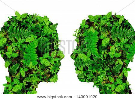 Heads made of leaves, ferns and forest nature