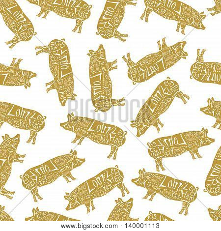 American cuts of pork, vintage typographic hand-drawn butcher cuts scheme seamless pattern. Vector illustration.