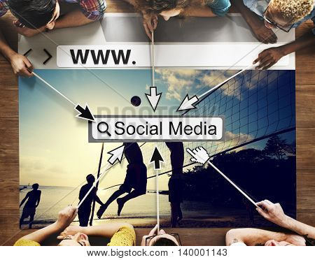 Internet Connection Searching Social Media Word Concept