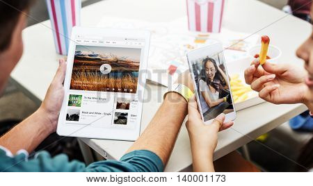 People Connection Digital Tablet Mobile Phone Music Steaming Concept