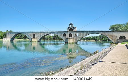 the famous Bridge of Avignon at Rhone River,Provence,South of France