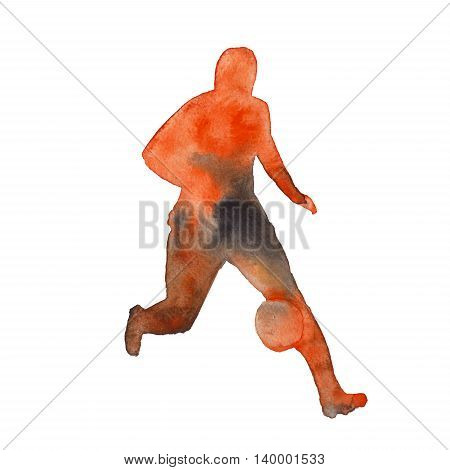 silhouette of a man playing football. footballer. isolated on white background. watercolor illustration.