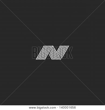 Monogram Letter N Logo, Incline Overlapping Black And White Thin Line Shape, Simple Design Initial E