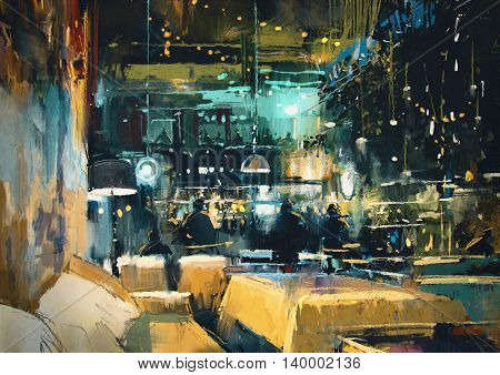 painting showing colorful interior of bar and restaurant at night