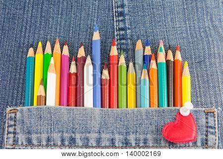 Colorful Pencils In Denim Jeans Pocket