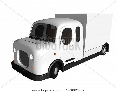3D white delivery van. Isolated on white background. 3D illustration.