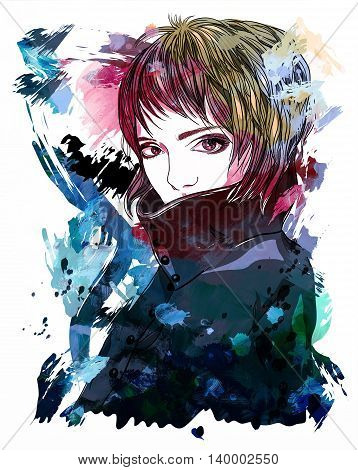 Portrait of a girl in a coat. A girl with short hair. Fashion illustration on abstract background. Print for T-shirt