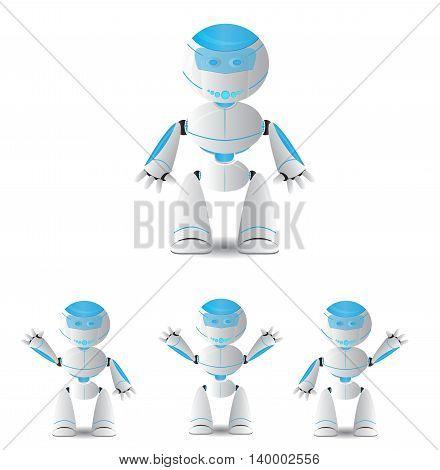cute cartoon robot set isolated on white
