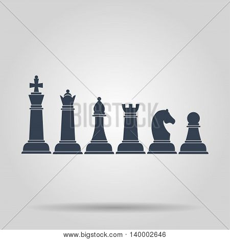 Set of named chess piece vector icons. Concept illustration for design.