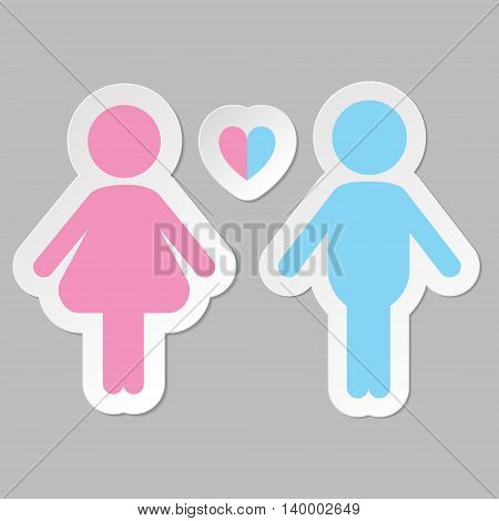 Hetero couple in love vector icon, pink and blue on gray background