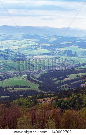 landscape consisting of a Carpathians mountains with fir-tree and green trees and blue sky with white clouds on the background