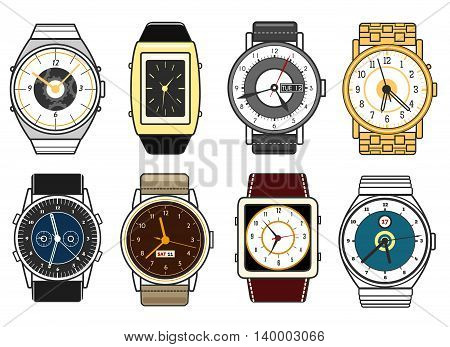 Vector hand watches on white background. Different style watch icons