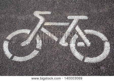 Prohibitory sign of a bicycle on a bicycle asphalt path