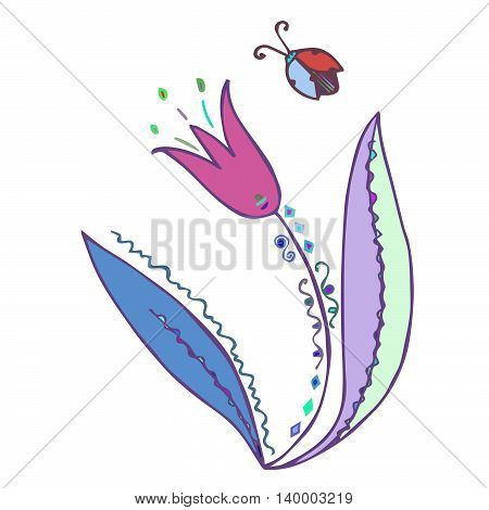 Colorful tulip with ladybug isolated on white background. Vector eps 10. Hand drawn graphics for prints, fabric, designs.