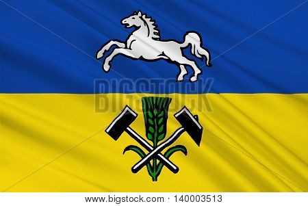 Flag of Helmstedt is a district in Lower Saxony Germany. 3d illustration