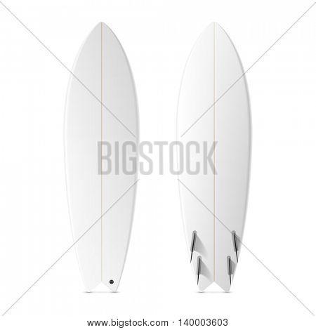 Blank surf fish board template. Vector.