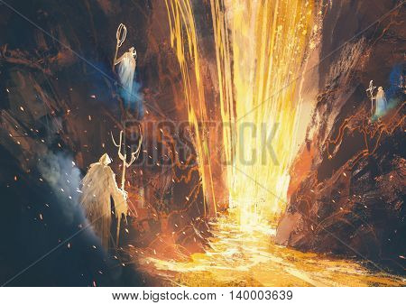 illustration painting of three wizards casting a spell in lava cave