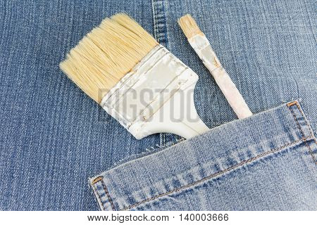Painting Brush In Blue Jeans Pocket
