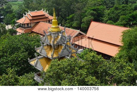 Buu Long temple aerial view on the rooftop in Ho Chi Minh city vietnam