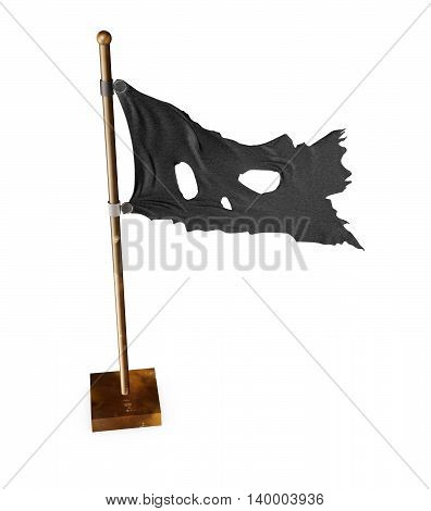 Skull Pirate Flag. 3D illustration  Flag. 3D illustration