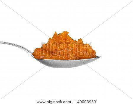 spoon squash caviar on a white background