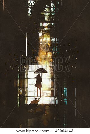 silhouette of woman with umbrella standing at window with bright light from outside, illustration painting