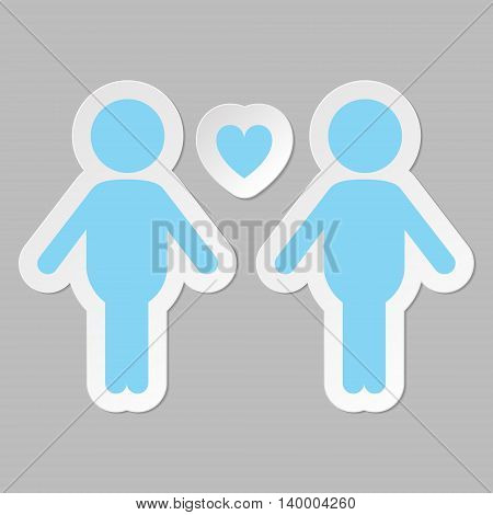 Gay couple in love vector icon, blue on gray background