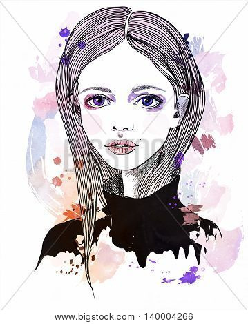 Portrait of a girl with pink hair. Fashion illustration on abstract background. Print for T-shirt
