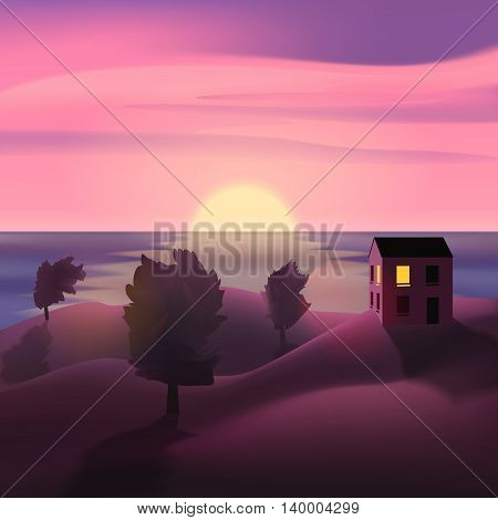 Summer evening landscape on the sea. Travel, home, recreation. Sunset Cloudy sky