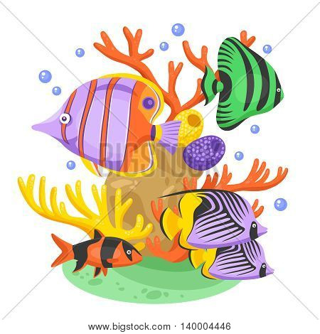 Exotic tropical fish concept with fish and corals flat vector illustration