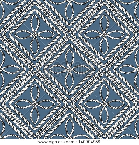 Seamless nautical rope knot pattern. Endless navy illustration with white decorative cord ornament blue backdrop. Trendy maritime style background. For fabric, wallpaper, wrapping