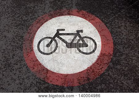 Regulatory street sign Bicycle lane on the ground