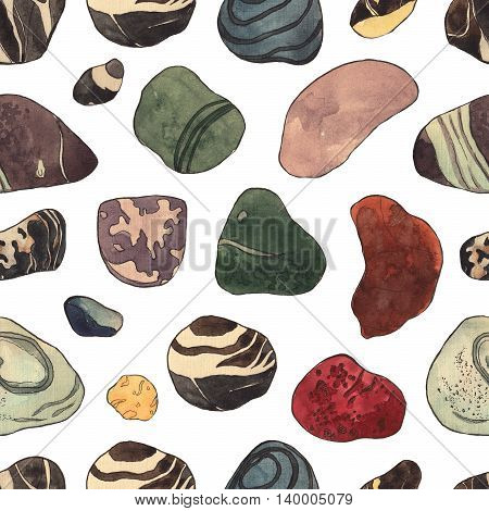 Seamless pattern with marine stones on watercolor background. Sea background