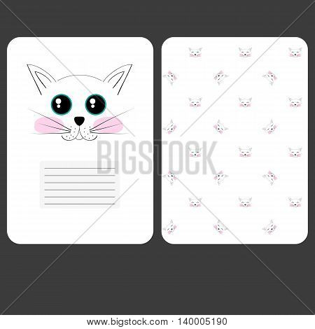 Sweet Page For Notebook Cat Diary. Funny Cover. Your Sprinkler, Blaknot, Card.