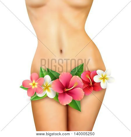 Beautiful healthy slim naked woman body with big flowers on white background realistic vector illustration