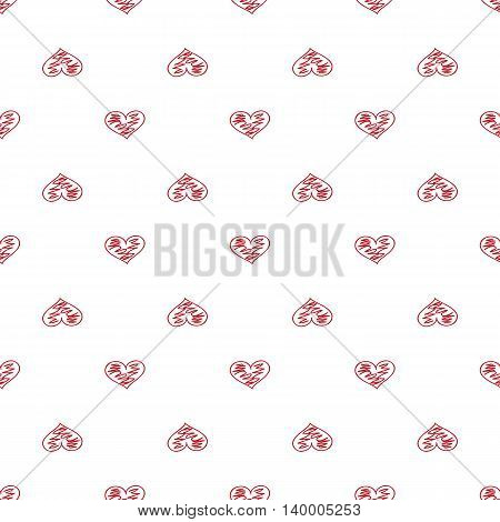 Heart Seamless Pattern. Doodle Style. Hand Drawing. Delicate Texture For Your Design.