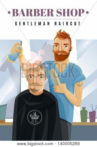 Hairdresser finishing hipster man haircut with comb and spray at barbershop cartoon vector illustration