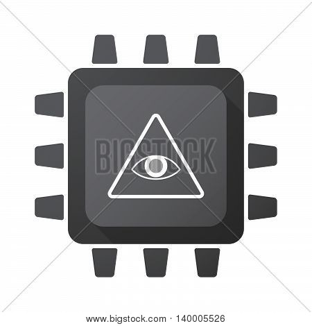 Isolated Cpu Chip Icon With An All Seeing Eye