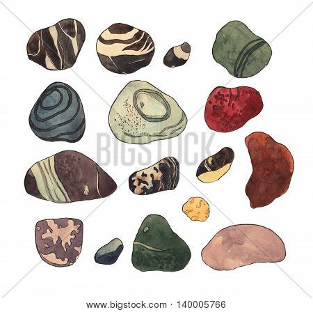 Set of marine stones. Watercolor illustration on white isolated background