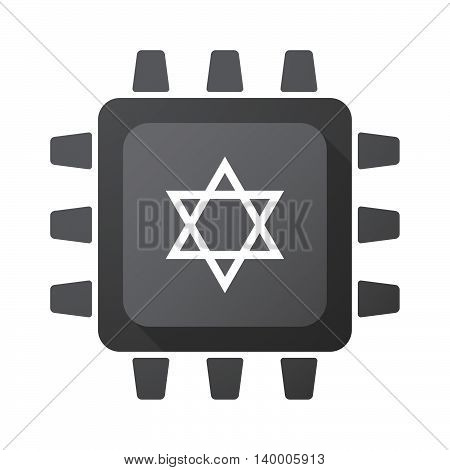 Isolated Cpu Chip Icon With A David Star