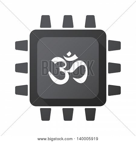 Isolated Cpu Chip Icon With An Om Sign