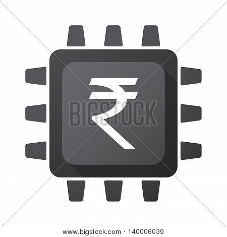 Isolated Cpu Chip Icon With A Rupee Sign
