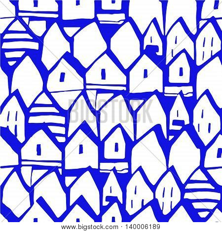 seamless vector pattern of houses. original background.