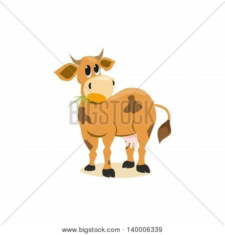 Milk cow. Dairy natural product Concept.Mammals animal isolated on white. Cartoon Holstein Jersey cow logo.Udder horns hoofs. Vector illustration