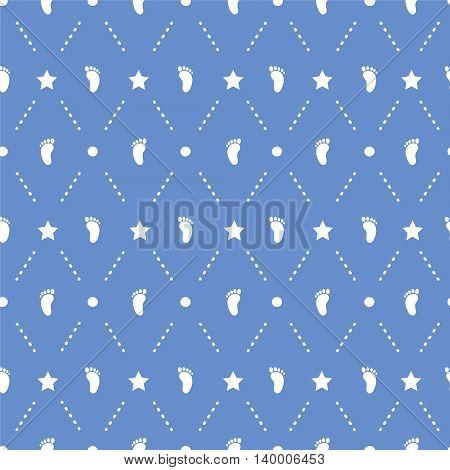 Seamless pattern with children footprint. Original background