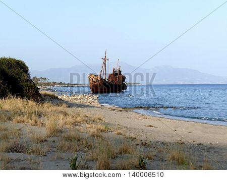 Dimitrios shipwreck at Selinitsa beach near Gytheio Peloponnese Greece