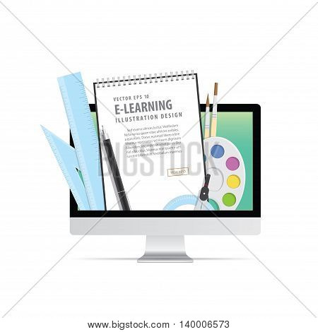 E-learning With Computer, Learning Through An Online Network. With Supplies Such As Pens, Book Wire,