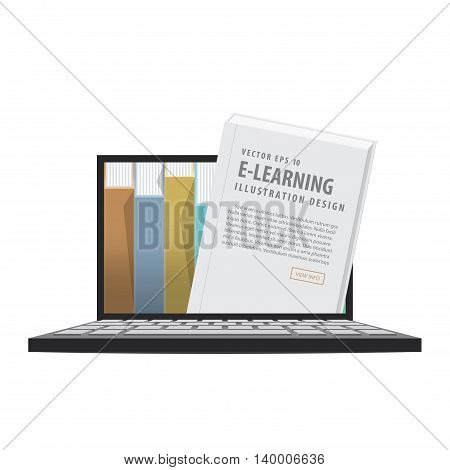 E-learning With Laptop, Learning Through An Online Network. With Many Book As The  Library. Meaning